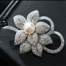 LNRRABC Fashion Women Silvery Color Flower Shapes Crystals Imitation Pearl Brooch Pin Jewelry Gift pins broches de strass luxo(China)