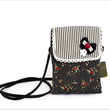 New Ladies Cross Package Korean Fashion Casual Fine Belt Cute Floral Wallet Canvas Small Square Bag Hot Sale