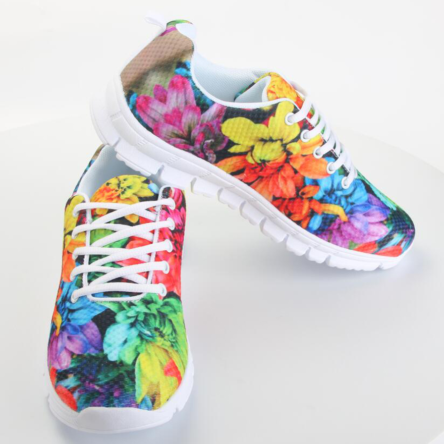 FORUDESIGNS Flat Shoes Women Flower Rose Walking Trainers Shoes,Breathable Ladies Flats Casual Shoes,Brand Woman Shoes Trainer <br>