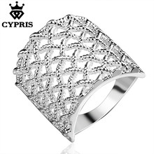 11.11 Super Deal R543 Luxury silver ring Fashion anillos Fishnet Jewellery Ring women men big lover gift xmas wedding gift Fine