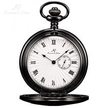 KS Skeleton Black Roman Numbers Case Steampunk Japan Movement Analog Quartz Long Chain Clock Pendant Men's Pocket Watch /KSP019