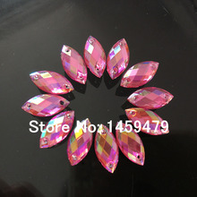 DIY Craft Supplies Small Batch Peach Color AB 60pcs 7x15mm Fancy Stones Rhinestones Accessories Sewing Marquise wholesale(China)