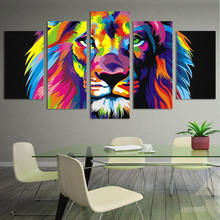 Lion Painting 5 Piece Canvas Art HD Printed Colorful Lion Room Decoration Print Poster Wall Picture Canvas Free Shippingny