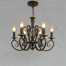 110-220V Nordic Iron Candle Retro Chandeliers E14 LED Vintage Lamp Home Lighting Living Room Nordic Chandelier Lighting Lamp