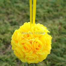 Free shipping, 20cm/8'' Hot sale Yellow Silk Rose Kissing Ball Flower Pomander Bouquet Flower Ball Wedding Party Supplys HQ19
