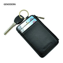 GENODERN Slim Card Holder with Key Ring Coin Pocket Men's Credit Card Holders for Car Key Genuine Leather Zipper Card Wallet