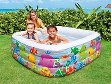 INTEX 57471 thickening large swimming pool infant pool oversized family inflatable square World Aquarium Pool size159cm*159m*50m(China)