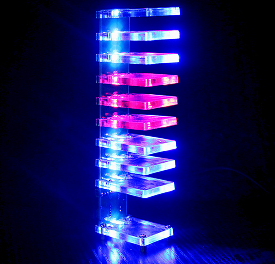 Sound control electronic crystal column making light of cubic LED DIY producing sound music spectrum parts kit<br>