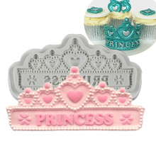 Princess Banner Tiara Cake Decorating Silicone Mould Fondant Cake Molds Confeitaria Birthday Cupcake Mould