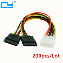 200pcs/Lot IDE to Sata Power Cable IDE to 2x Serial ATA SATA HDD Power Adapter 4pin IDE To 15pin SATA HDD Power Cable(China)