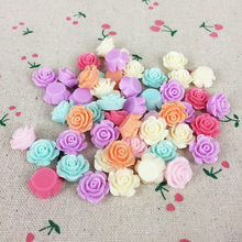 Buy 50 Pieces Mixed Color Flat Back Flatback Resin Flower Cabochons Kawaii Cabochon Decorative Craft Embellishment Charm:15MM for $2.84 in AliExpress store