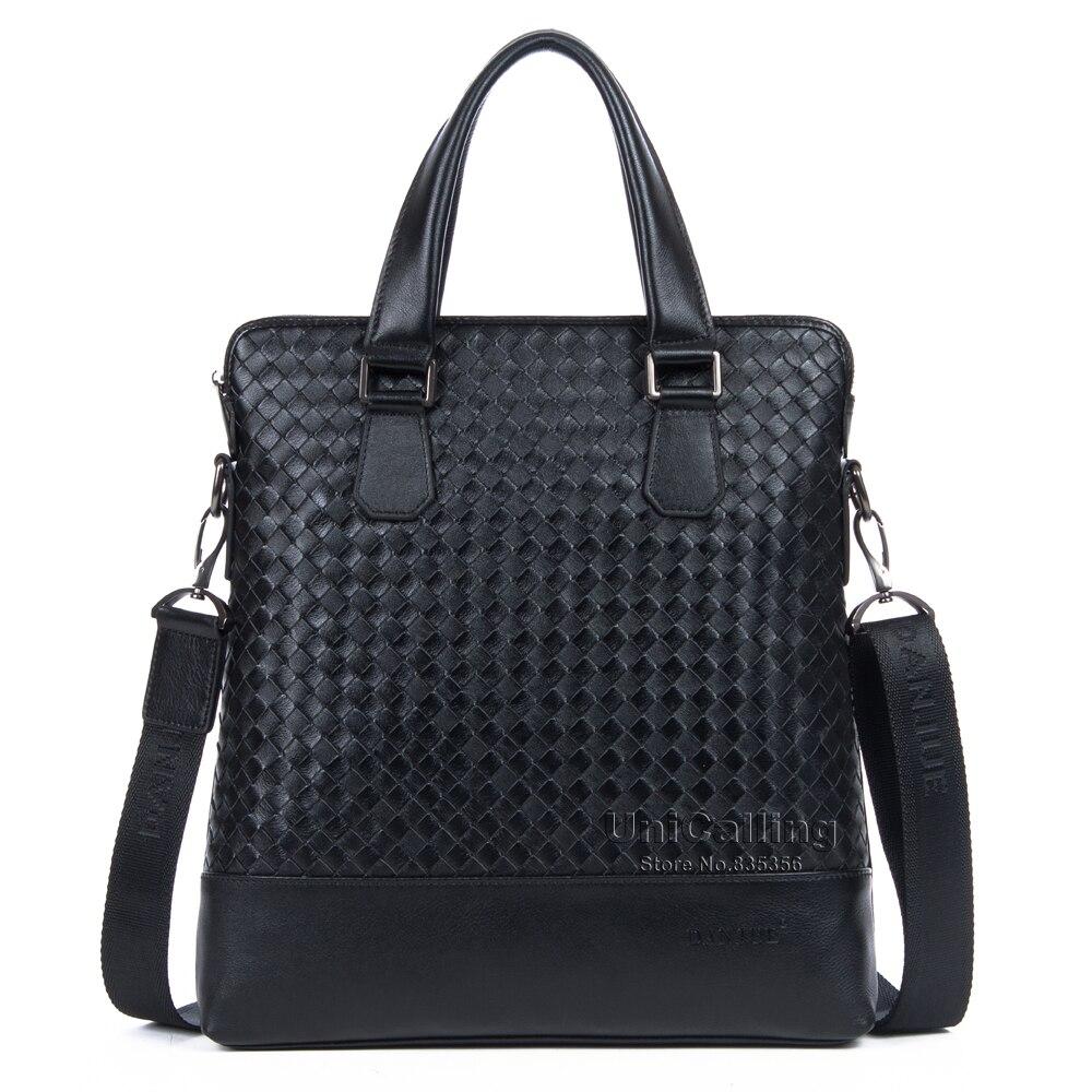 Brand high quality cowhide leather genuine mens vertical briefcase business handbag messenger bag Knitting fashion design<br><br>Aliexpress