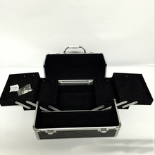 black professional handle Makeup Cosmetic Storage Train Case Box Trays Aluminum Organizer Artist Hiker