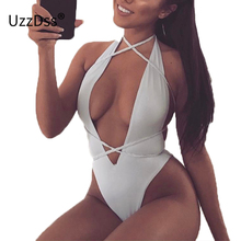 Buy UZZDSS Halter V Neck Sleeveless Sexy Bandage Bodysuits 2018 Party Club Women Summer Lace Bodycon Beach Bodysuit Rompers