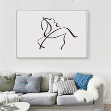 Nordic Modern Minimalist Black White Drawing Horse Curve Abstract Art Print Poster Image Canvas Mural  Home Decoration Painting