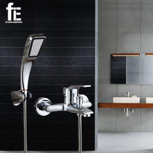 fiE Wall Mounted Bathroom Faucet Bath Tub Mixer Tap With Hand Shower Head Shower Faucet(China)