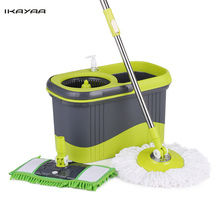 iKayaa Press Type Stainless Steel Rolling Magic Spin Mop Bucket Set Rotating Floor Mop 2 Mop Heads Cleaning Tools UK Stock