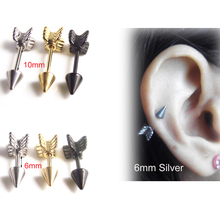 Isayoe 1 Piece Gold Silver Black 316l Stainless Steel Tragus Ear  Surgical Arrow Shape Nipple Ring Ear Helix Piercing Jewelry