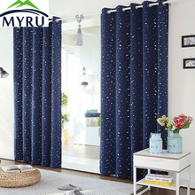 MYRU Thermal Insulated & Heating Against star curtains modern navy blue blackout curtains