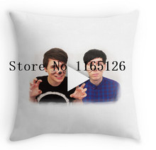 Hot Pillow cases cool Dan & Phil YouTube Play Button two sides printing Square Zippered Pillowcase free shipping(China)