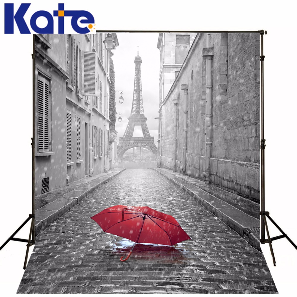 10X10FT Kate Grey Eiffel Tower Wedding Backgrounds For Photo Studio Red Umbrella Photography Backdrops Building Baby Backdrops<br>