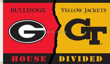 Georgia Bulldogs vs Yellow Jackets new Flag 3x5FT NCAA banner 100D Polyester brass grommets custom flags, Free Shipping(China)
