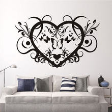 Wall Stickers Creative Vinyl Heart Shaped Wallpaper Butterflies And Floral Diy Wall Poster Home Bedroom Decoration Accessories