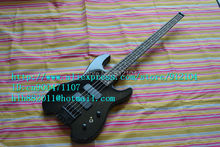free shipping new headless electric bass guitar in black made in China+ foam box F-1203