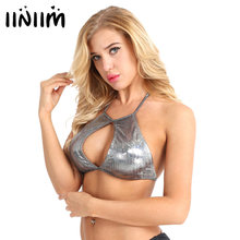 261c44871e374 iiniim Sexy Ladies Fashion Shiny Fabric Slim Fit Keyhole Cutout Backless  Halter Strappy Rave Crop Top for Evening Party Clubwear