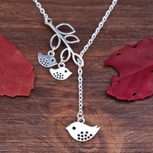 8SEASONS Handmade Antique silver-color Family Bird Pendant Necklace for Mother's Day Gift, Approx 52cm Long, 1PC