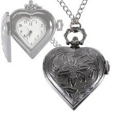 Vintage Men Women Black Heart Shaped Design Pocket Watch Fob Pendant Necklace Chain Clock Gift LXH(China)