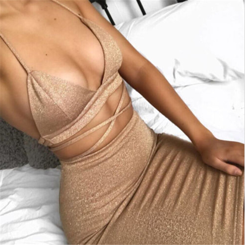 Gold two pieces set women clothing sexy crop tops