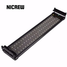 Nicrew 50-68cm Aquarium LED Lighting Fish Tank Light Lamp with Extendable Brackets 60 White and 12 Blue LEDs Fits for Aquarium(China)
