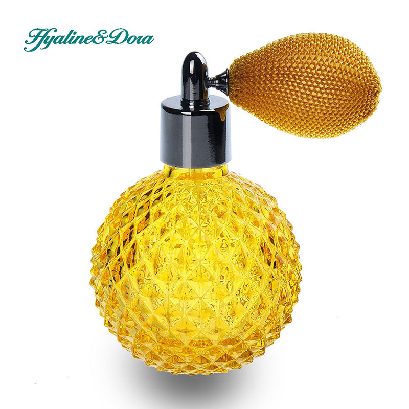 110ml Engraved Perfume Atomizer Glass Bottle w/ Gold Bulb Puffer Yellow Gift Perfume Bottles<br><br>Aliexpress