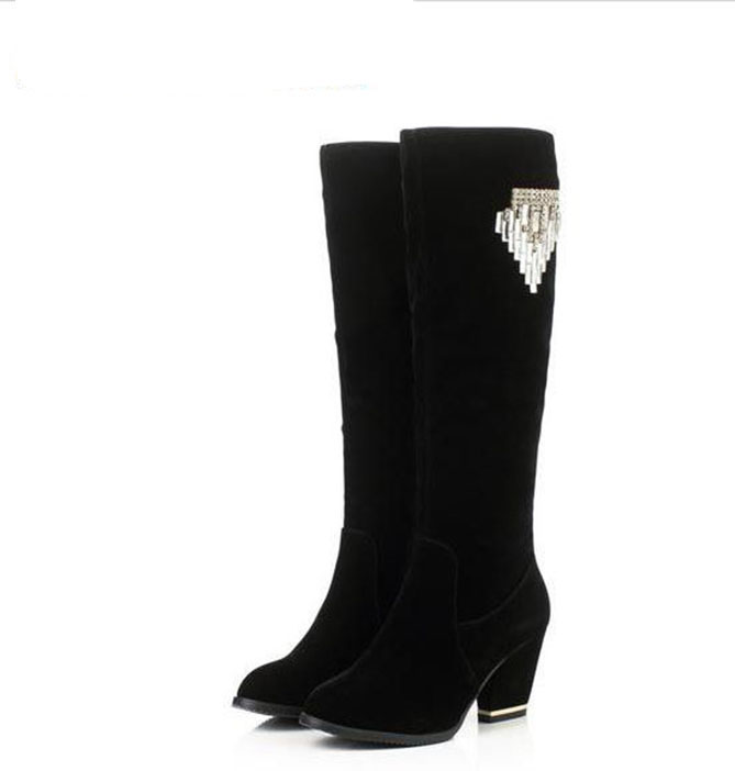 Cattle and thick leather high heels and sexy fashion womens shoes and boots, high - legs long boots plus size in winter boots<br>