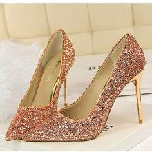 2016 women pumps colorful glitter high heels comfortable high quality golden women wedding party shoes office heels ALF146B
