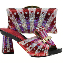 Women Shoes and Bag Set In Italy Red Color Italian Ladies Shoe and Bag Set Decorated with Rhinestone High Quality Shoes and Bags(China)