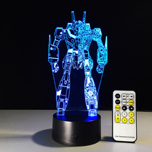 Transformers 3D Night Light RGB Changeable Mood Lamp LED Light DC5V USB 3AA Battery Decorative Table Lamp a free Remote Control(China)