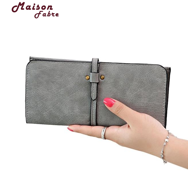 Maison Fabre New Fashion Women PU Leather Drawstring Long Wallet Cool Card Bag Monedero 11S60928 Mar 21(China)