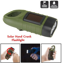 Newest Mini Solar Powered Hand Crank 3 LED Flashlight Lamp Rechargeable Emergency Light AAA Led Bulbs Portable Light Outdoors(China)