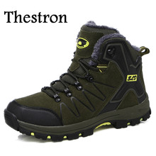 Thestron Army Green Mens Athletic Shoes High Top Boots Outdoor Men Winter Warm Men Hiking Shoes With Fur Hiking Men Boots
