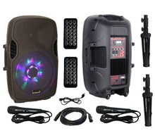 "STARAUDIO 2X Professional 15"" 2500W Powered Active PA DJ Speakers W/ 2 Stands 2 Wired Mics 1 Cable SPW-15RGB"
