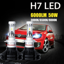 Oslamp H7 Led Car Headlight Bulbs CREE CSP Chips 50W 6000LM 3000K/6500K/8000K Led Headlight Kits Auto Headlamp Fog Light 12v 24v
