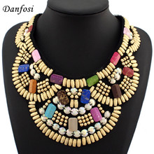 Hot Sell Indian Style Colorful Wooden Beads Necklaces For Women Dress Match,Fashion Hand Made Collar Jewelry(China)