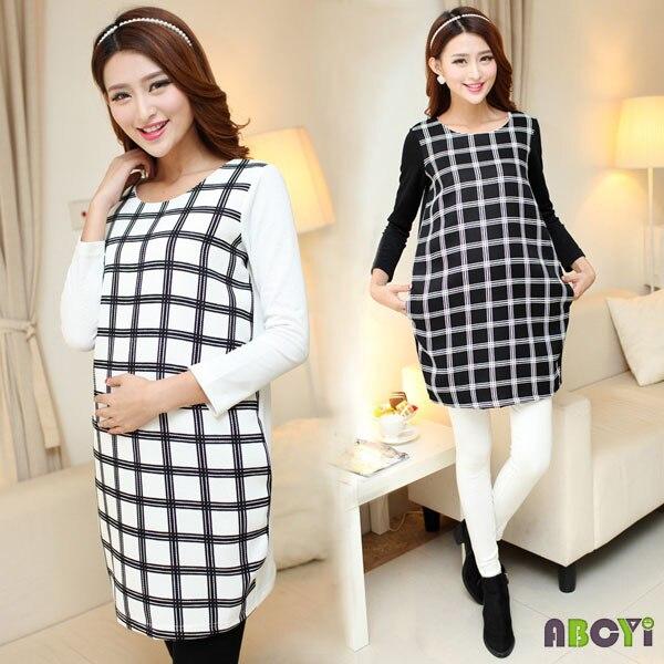 vestido de maternidad a cuadros otoo invierno ropa para mujeres embarazadas tallas grandes ropa para el