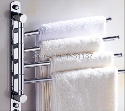wholesale and retail Stainless steel ,chrome plating Wall Mount 4 bars towel rack towel bar bathroom accessories<br>