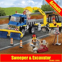 Bela 10651 323Pcs City Figures Sweeper Excavator Model Building Kits Blocks Bricks Toys For Children Compatible 60152(China)