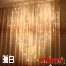 2016 Good quality 2M x 1.5m Heart Shape 124 Hearts LED String Holiday Light Christmas Wedding Decoration Curtain lights