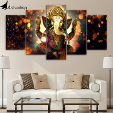HD Printed 5 Piece Canvas Art Hindu God Ganesha Elephant Painting Wall Pictures for Living Room Modern Free Shipping UP-1931B(China)