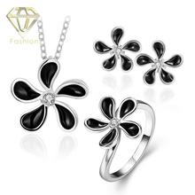 Buy Jewelry Sets Online Trendy /Rose/White Gold Color Black Flower Inlaid CZ Pendant Necklace + Earrings + Ring(China)